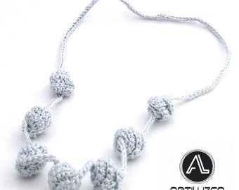 Silver Irisbo, Crochet necklace, Necklace in natural fibers, Handmade knitted necklace