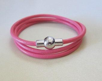 Leather Triple Wrap Bracelet / Choice of Color / 3MM