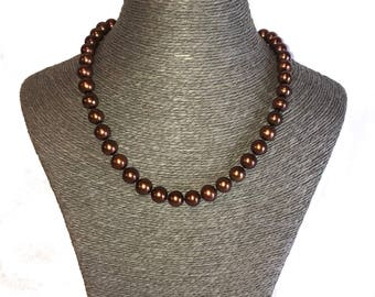 Single Strand Freshwater Pearl Necklace, Freshwater Pearls, brown Pearls, Large Pearl Necklaces, Genuine Pearls, Real Pearl Necklaces