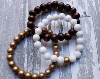 White, Gold, Wooden Bead Trio