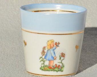 French Porcelain Childrens tumbler, Limoges porcelain baptism  birth gift,  Made in France