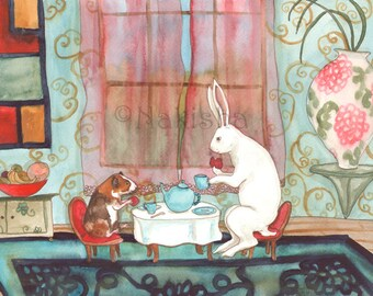 Tea with Guinea Pig - Fine Art Rabbit Print