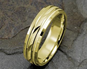 Mens Wedding band, Mens Wedding Ring, 6mm Mens Ring, Solid Gold Band, 14k Gold Band, Mens Band, Yellow Gold Wedding Ring, Wedding Band Mens