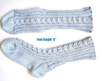 "Socks cotton hand knit. Foot  length 9"".Non elastic diabetes friendly socks .Cabled design and reinforced heels. Bed socks. Ready to ship."