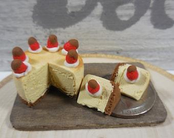 Fairy Garden Cheesecake ~ Miniature Cheesecake w/ Tiny Chocolate Strawberry ~ Cheesecake for Fairies ~ Miniature Food ~ Fairy Garden Supply