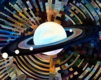 Planet Stained Glass Abstract Mosaic Science Postcard Poster Art Print Q61