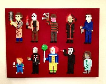 Horror Icons Retro Art. 8 bit Pixel Art, Perler Beads on Canvas. Mini-Pix Characters.