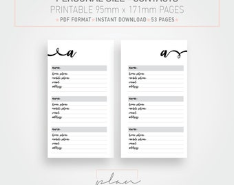 Printable planner inserts, 95 x 171 mm, Personal size  Planner, Contacts inserts, Minimal planner pages, Instant download,