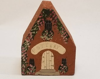 Vintage Pottery Shop Brick House Handpainted by Judy Rohrer