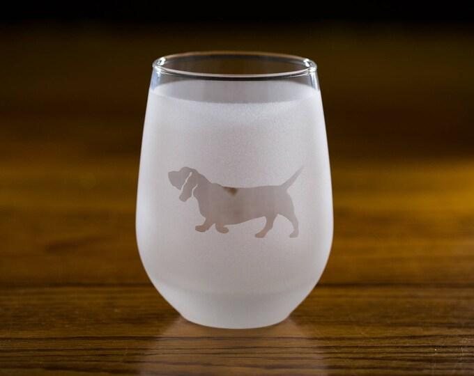 Basset Hound Stemless Wine Glass Set  | Birthday Gift for Dog Lover | Housewarming Present | Wine Drinker Gift | Customizable Glassware