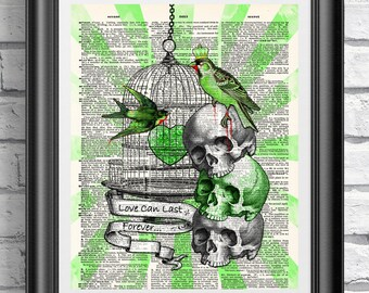 Zombies Art print, Undead birds wall decor, Goth print dictionary book page, Book art zombies, Skull anatomical poster print, Tattoo print