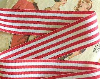 """Red and White Striped Ribbon, Classic Christmas Grosgrain Ribbon 1.5"""""""
