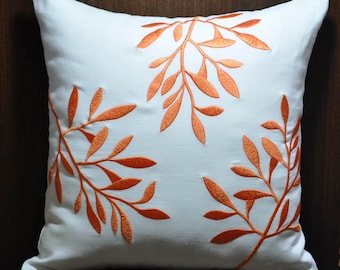 Orange White Decorative Pillow Cover, White Linen Pillow Orange Leaves, Embroidered Couch Pillow, Leaves Cushion Cover, Floral pillow case