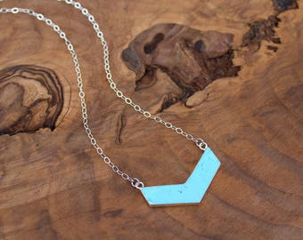 Chevron necklace, howlite and sterling silver chain and lobster clasp, blue howlite necklace, blue chevron necklace