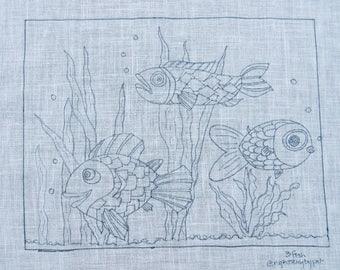 3 Fish Rug Hooking Pattern