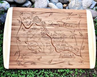 Malibu Map Large Bamboo Cutting Board