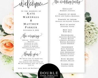 Wedding program template download Elegant wedding programs Editable template wedding Simple wedding programs Wedding program download #vm41