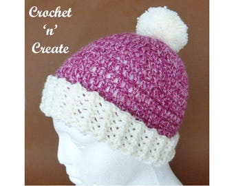 Pom-Pom Hat Crochet Pattern (DOWNLOAD) CNC71