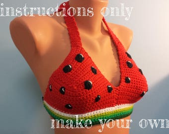 INSTRUCTIONS ONLY - Crochet your own Juicy Melons Watermelon Cotton Halter Sexy Bikini Top Summer Beach Pool Party Festival Pattern Download