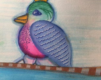 Blue Bird Art Notecards (set of 6 with envelopes in a clear box) - blue bird with crown art print