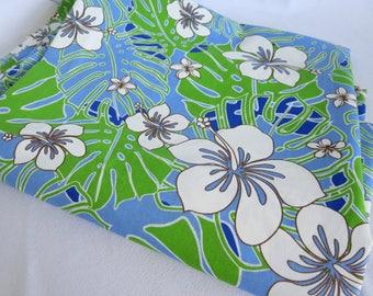Hawaiian Fabric, Fabric, Tropical, Hibiscus, Blue Hawaii, Hawaii, Tiki, Sewing, Blue, Leaves, Retro, Vintage, Hawaiian Shirt Fabric