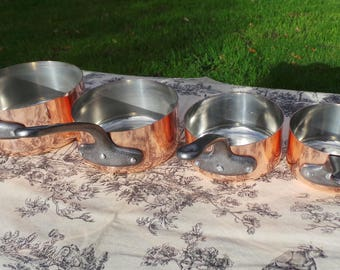 French Copper Pans set of Four Saucier Set Made In France Unmarked 1mm Graduated Pans Cast Iron Handles Tin Lined 'Little Paris Kitchen'