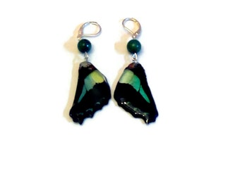 "Earrings ""real butterfly wings and azurite chrysocolla is a tiny"""