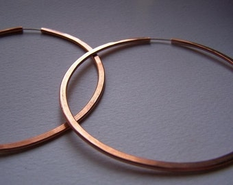 Copper Hoop Earrings - XL 3 inch hoops