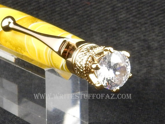Mother's Day Lemon Yellow Twist Pen, Adorned with Swarovski Crystal