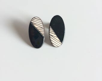 Graphic, black earrings ceramic earrings, black, graphic