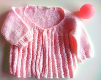Knit pink baby girl Cardigan 6-9 months