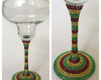 Cinco de Mayo Rhinestone Margarita Glass
