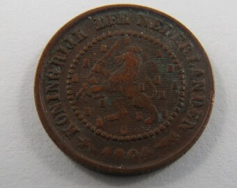 Netherlands 1894 Half Cent Coin.