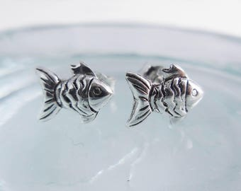 925 Sterling Silver Fish Stud Earrings, Fish Earrings, Fish Studs, Fish Jewelry, Animal Jewelry, Zodiac Jewelry, Star Sign, Zodiac Jewelry