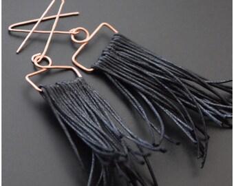Fringe Earrings, Copper Earrings, Hanging Earrings