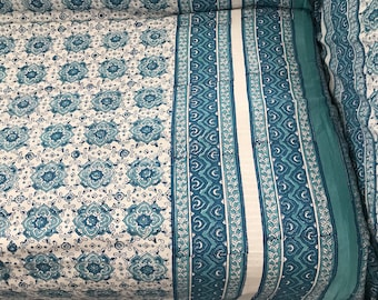 Bohemian Slipcover / Sofascarf / Turquoise and White