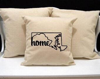 Maryland Home Pillow, Maryland Pillow, home pillow, pillow gift, Maryland gift, Envelope Pillow Cover, state pillow, MD pillow, 20x20 pillow