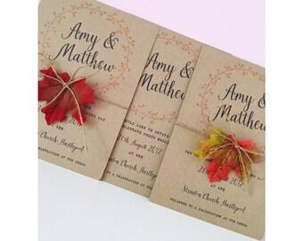 Autumn wedding invitations / autumn leaves / wedding invite / fall wedding / fall invitations
