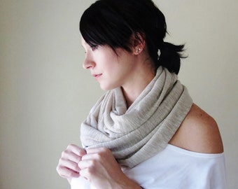 Last One - BEIGE Infinity Scarf - Neutral Sweater Scarf - Earthy Circle Scarf - Chunky Infinity Cowl