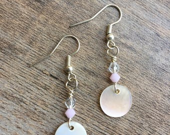 Bridal White Capiz Shell / Simple Long Dangle Earrings /  Gifts for Her / Mother's Day Gift