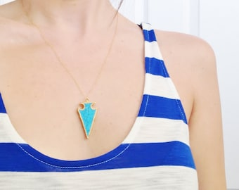 Turquoise Arrowhead Necklace - Bohemian Chic Jewelry