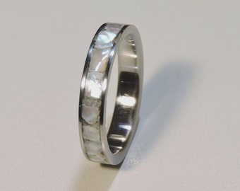 Ebony Wood with Mother of Pearl Inlay Wedding Band Set Ring