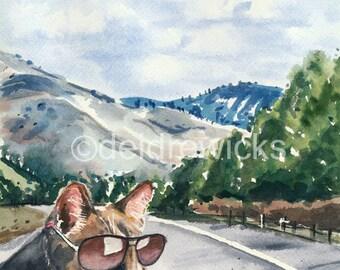Travel Watercolor PRINT - Cat Watercolour, Cat Painting, Mountains, Landscape Illustration, Road Trip, Cat with Sunglasses