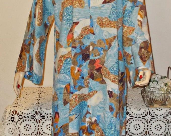 Vintage 60s Boho Hippie Chic Caftan Tunic Handmade Psychedelic Bohemian Pullover Kaftan Womens Long Sleeve Full Length Maxi Dress