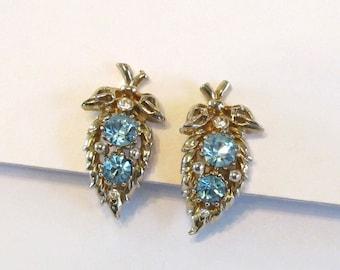 1950s Coro Blue Rhinestone Earrings