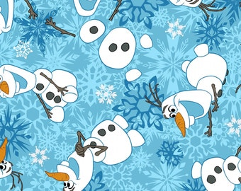 Disney Frozen Olaf Winter Snowflakes Flannel --  100% Cotton -- by 1 yard