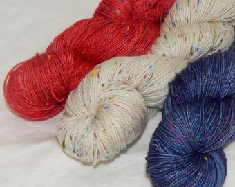 Independenc Day on Mad Tweed 2-ply fingering 85/15 SW merino and colorful NEP's, set of three