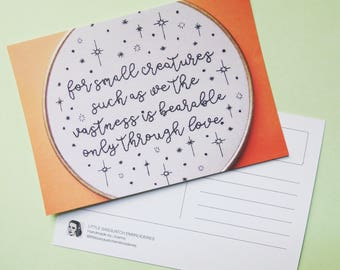 For Small Creatures postcard - Carl Sagan quote hand embroidery art card