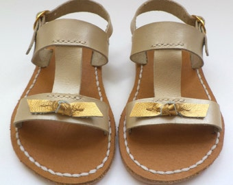 Children Beige/Gold Bow Leather Sandals, Summer sandals,Girls Sandals