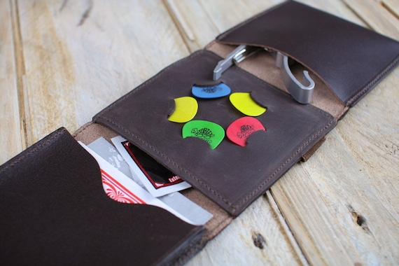 Leather Guitar Strings 'n' Things Wallet, also banjo and mandolin leather accessories wallet